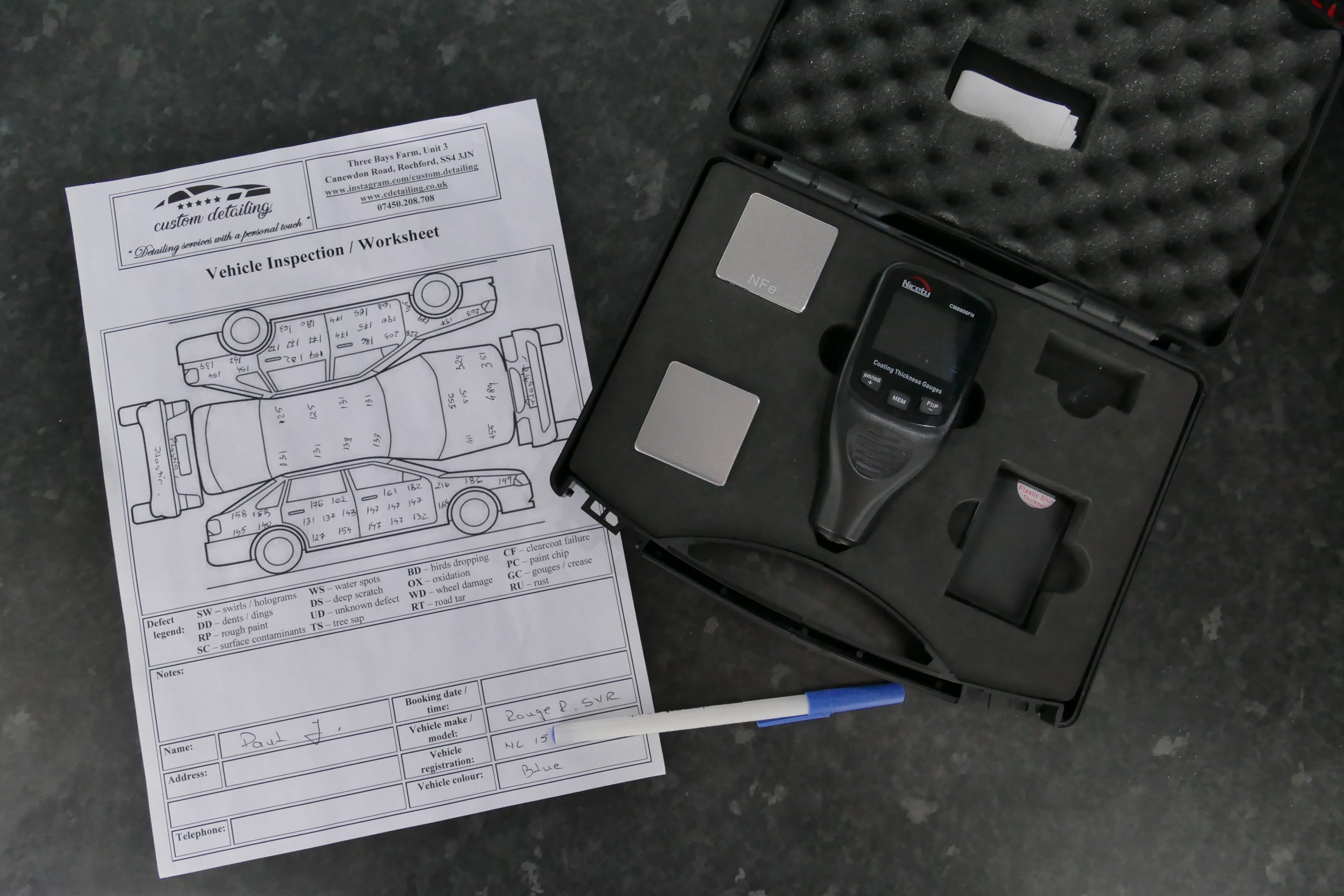 paint gauge mesurement custom detailing